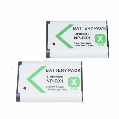 TWO (2) Battery For Sony NP-BX1 HDR-GWP88 HD-MV1 HDR-AS15 1240mAh 3.6v