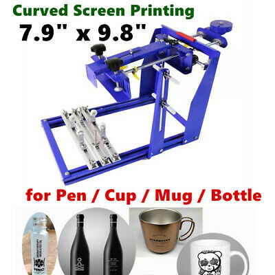 7.9 X 9.8 Manual Cylinder Curved Screen Printing Press For Pen Cup Mug