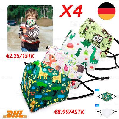 4Stk Kinder Stoffmaske Mundschutz Baumwollmaske Behelfsmaske Baumwolle Waschbar