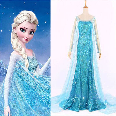 Frozen Elsa Erwachsene Kostüm Kleid Abend Party Blau alle Größen Abendkleid