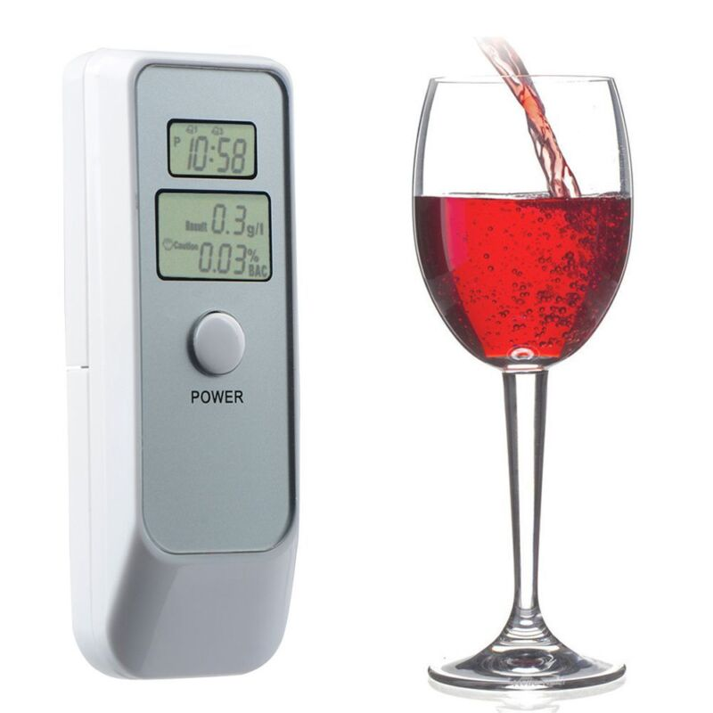 1PC Alcotester Dual LCD Digital Display Alcohol Tester Breathalyzer with Clock
