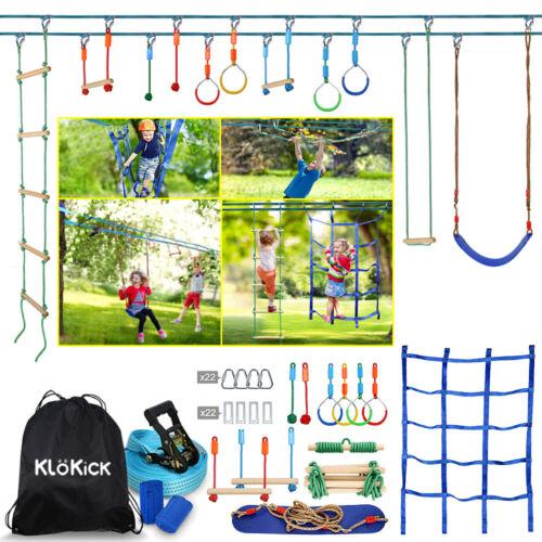 KLÖKICK 15M Ninja Slackline Set hängende für Kinder Schwingen Polyester Holz DE