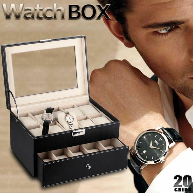 20 Slot Grids Watch Box Leather Display Case Organizer Glass Jewelry Storage BK
