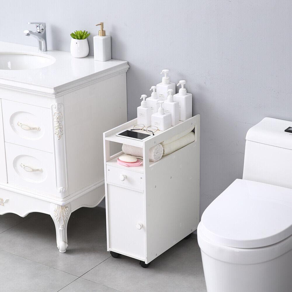 Rolling Narrow Slim Bathroom Storage Cabinet Cart ...