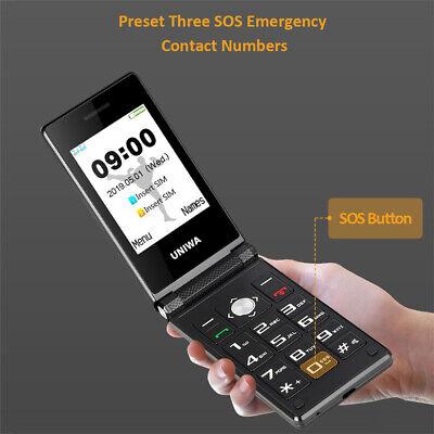 Senior Dual Sim Flip Phone GSM Big Push Button Unlocked Easy For Old Man Gift ()