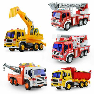 Kids Fire Engine Truck Enginer Car Toys Rescue Ladder Truck Model Light&Sound US