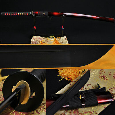 FULL BLACK STEEL FULL TANG BLADE HANDMADE Japanese SAMURAI KATANA SWORD SHARP