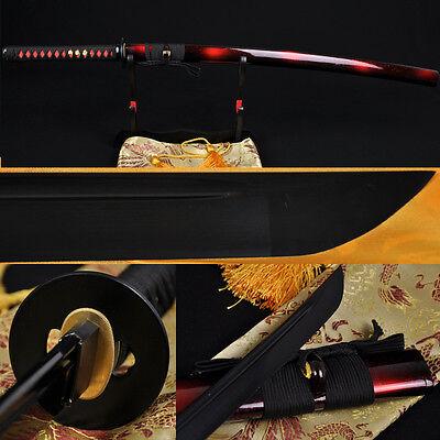FULL BLACK STEEL FULL TANG BLADE HANDMADE Japanese SAMURAI KATANA SWORD SHARP