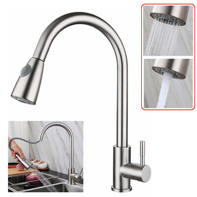 Brushed Nickel Kitchen Sink Faucet Pull Down Sprayer W/ Cover Mixer Tap