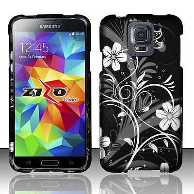 - Design Rubberized Hard Case for Samsung Galaxy S5 - White Flower