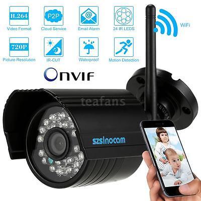 HD 720P Wireless WIFI Überwachungskamera Funk IP Kamera Außen IR Nachtsicht P5B6