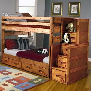 FREE Delivery in Edmonton! Solid Pine Full Over Full Bunk Bed!