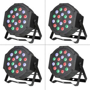 4X 18 RGB LED Stage Light DMX Par CAN DJ Disco Uplighter Lighting Effect Strobe