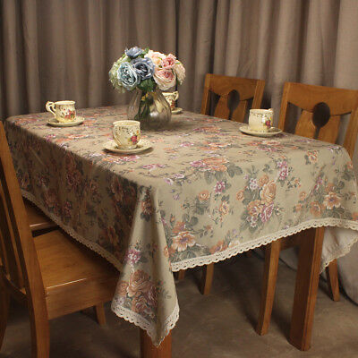 CURCYA Brown Tablecloth Spring Summer Flowers Table Cloth Covers for Tea Tables ()