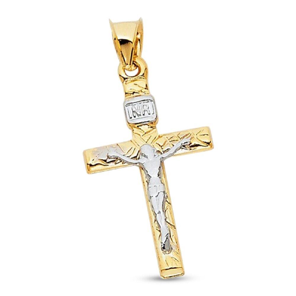 14K Yellow /& White Gold Religious INRI Crucifix Jesus Cross Charm Pendant 55mm