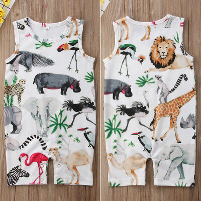 UK Newborn Baby Girl Boy Floral Cartoon Romper Bodysuit Jumpsuit Sunsuit Clothes