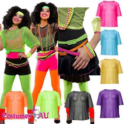 Vest Mash Top 80s Costume Net Neon Punk Rocker Fishnet T Shirt Necklace Bracelet - Female Rocker Costume