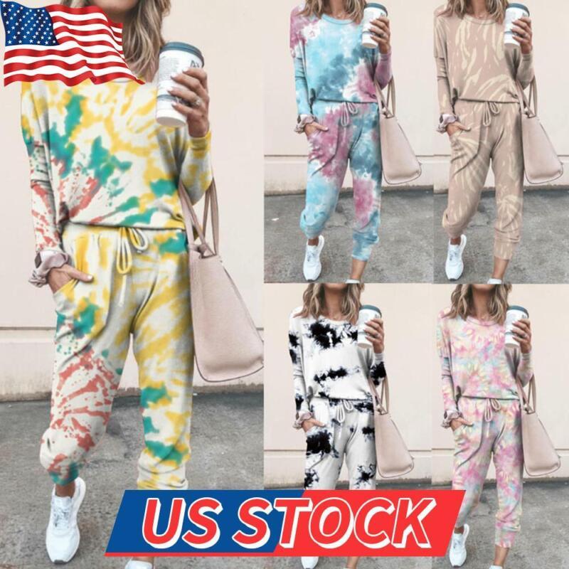 2PCS Women Long Sleeve Tops + Pants Tracksuit Set Sport Casual Suit Lounge Wear