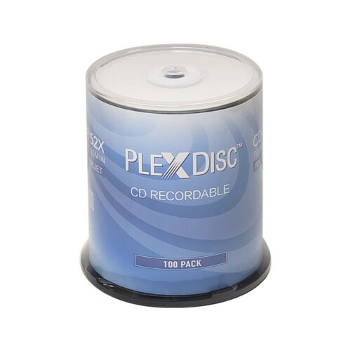 100 PlexDisc CD-R 700MB 52X White Inkjet Hub Printable Media Disc 631-205-BX