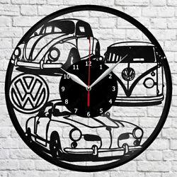Volkswagen Retro Car Vinyl Record Wall Clock Home Fan Art Decor 12'' 30 cm 6844