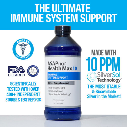 Health Max 10 SilverSol 10PPM Silver Supplement Immune Support 16oz Bottle