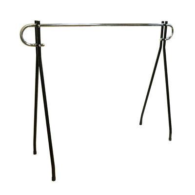 54h Black Clothing Rack Garment Display Single Chrome Bar Retail Fixture