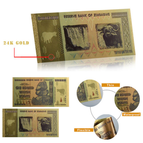 1* Zimbabwe 100 Trillion Banknote Gold Bill World Money Value Collection Gift