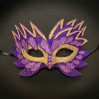 Sea Unicorn Mardi Gras Venetian Masquerade Mask for Women M7240 Purple - Purple Mardi Gras Mask