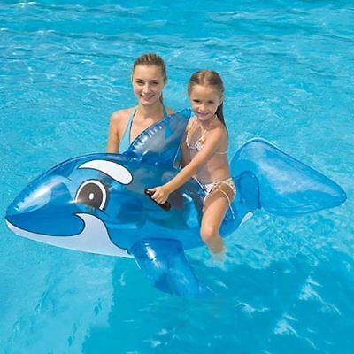 """Large Inflatable Ride On Transperent Whale Beach Swimming Pool Toy - 46""""x23"""""""