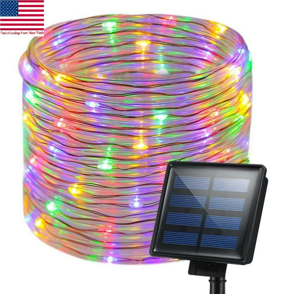 Solar Twinkle Copper Wire Fairy String Night Lights Outdoor Garden Decor 100LEDs