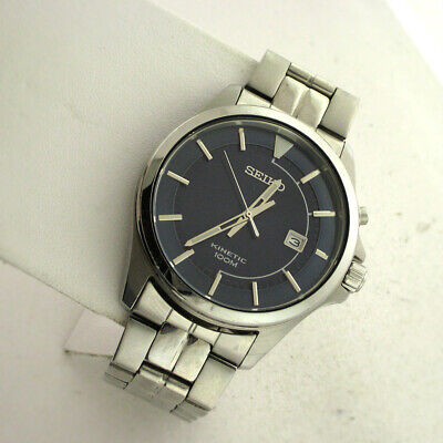 Mens Link Steel Watch - Seiko Mens SKA581 Kinetic Blue Dial Automatic Watch Stainless Steel Link Band