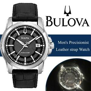 New  Bulova Mens Precisionist Leather strap Watch Grey 96B158 Condition: New