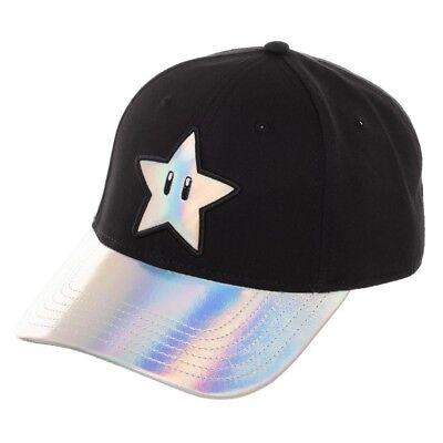 NINTENDO SUPER MARIO BROS STAR IRIDESCENT CURVED BILL SUEDE HAT CAP ADJUSTABLE  - Super Mario Bros Hats
