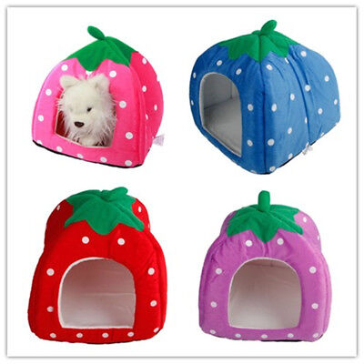 Pet Dog Cat Bed House Kennel Doggy Warm Cushion Basket Soft Strawberry USA New