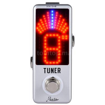 Pro Mini Chromatic Tuner Pedal Effect LED True Bypass for Guitar Bass Sliver