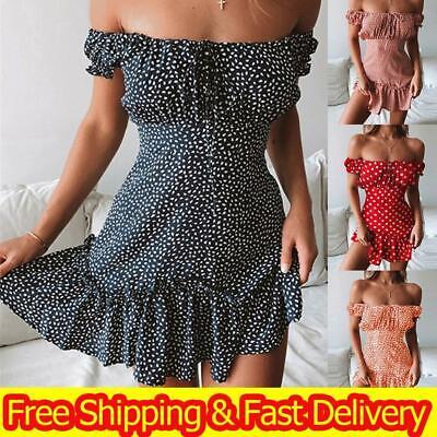 Women Sexy Boho Polka Dot Off Shoulder Mini Dress Summer Holiday Bardot Sundress