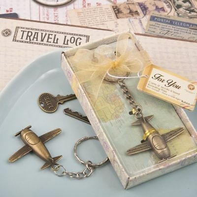 30-144 Vintage Style Airplane Key Chain - Travel Themed Wedding Party Favors - Vintage Themed Party