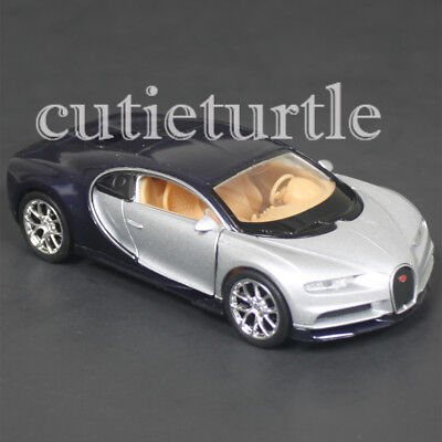 4 5  Welly Bugatti Chiron Diecast Toy Car 43738D 2 Tone Blue Silver