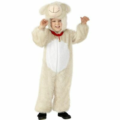 Kids Barnyard Lamb Farm Animal Jumpsuit w Hood Child Zip-Up Manger Costume SM-MD