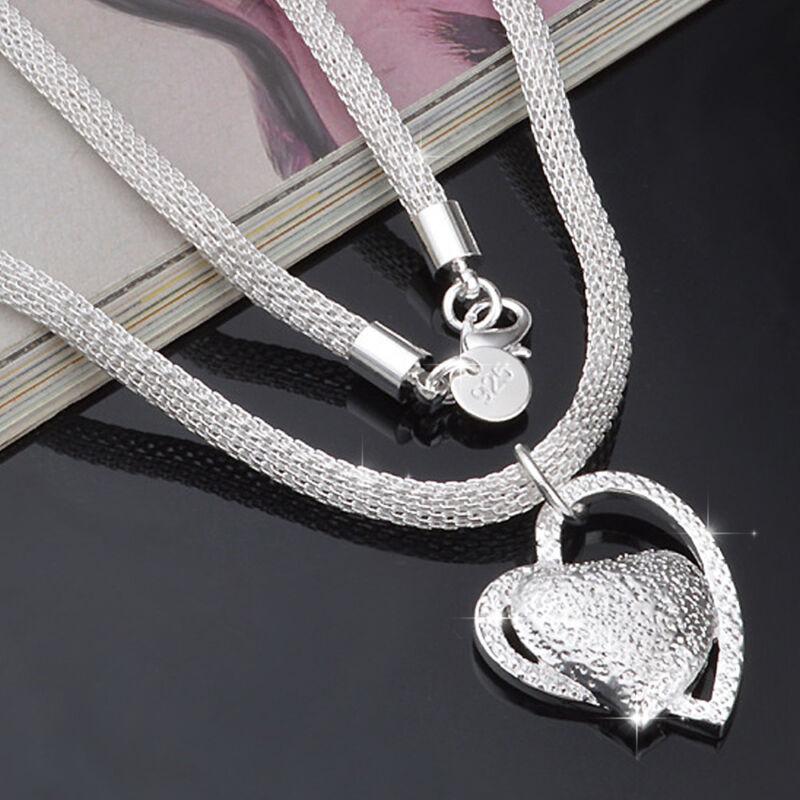 Jewellery - FASHION 925 SILVER DOUBLE HEART PENDANT NECKLACE CHAIN WOMEN JEWELLERY