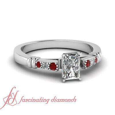 .60 Ct Radiant Cut VS1 Diamond & Ruby Cathedral Engagement Ring For Women GIA