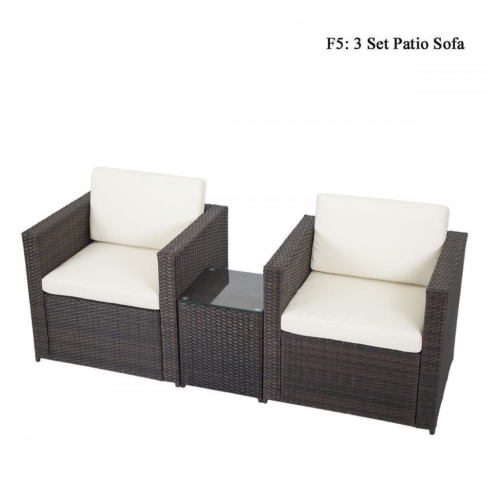 DIY Outdoor Patio Sofa Sectional Furniture PE Wicker Rattan Deck Couch Brand New Home & Garden