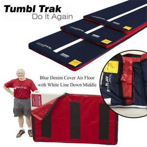 NEW Tumbl Trak Blue Denim Cover Air Floor with White Line Down Middle, Velcro, and Non-Skid Material, 3 m x 1.5 m Con...