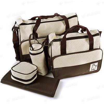 5tlg. braun groß Wickeltasche Pflegetasche Kindertasche Babytasche Tasche Set