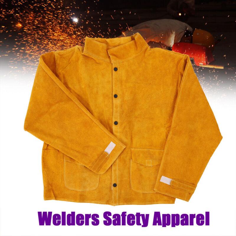 Leather Welding Apparel Suit Welders Jacket L-3XL Flame-Resistant Coat Yellow
