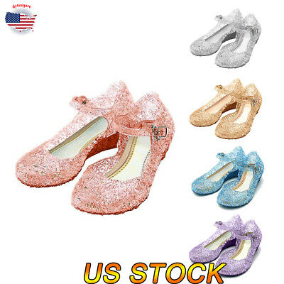 Kids Girl Flat Glitter Bridal Party Sandals Cute Fancy Crystal Fashion Shoes New