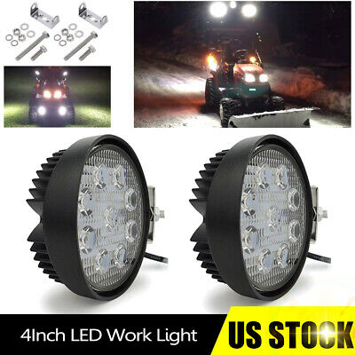 2x 4 Led Work Light 27w Round Light Bar Fit Kubota Bx B3030 Tractor Snow Plow