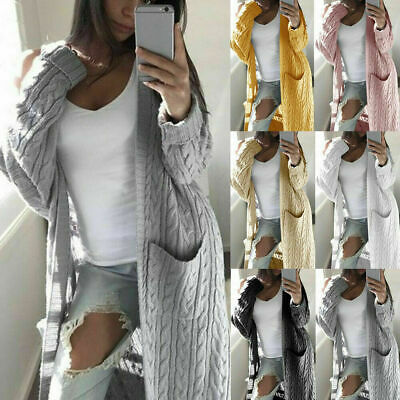 Ladies Chunky Knit Sweater Open Front Pocket Coat Long Cardigan Coat Tops Jacket