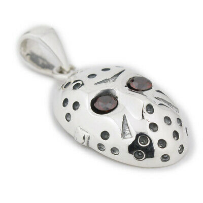 Red CZ Eyes 925 Sterling Silver Halloween Jason Mask Mens Pendant 8N026A - Red Eyes Halloween