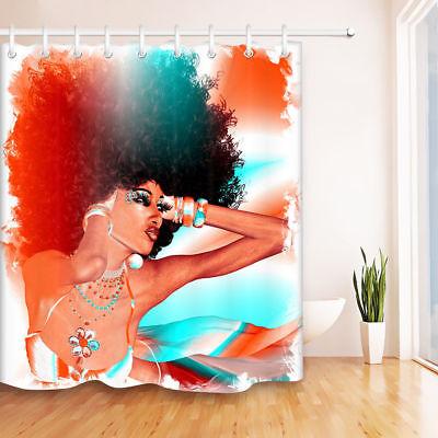 "72"" Fashion African American Black Beauty Girl Shower Curtain Set Hooks US SHIP"